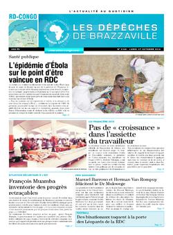 Les Dépêches de Brazzaville : Édition kinshasa du 27 octobre 2014