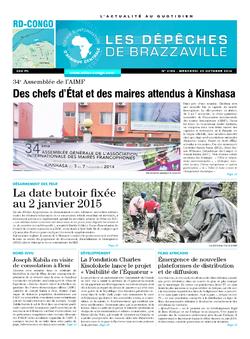 Les Dépêches de Brazzaville : Édition kinshasa du 29 octobre 2014