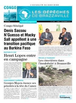 Les Dépêches de Brazzaville : Édition brazzaville du 03 novembre 2014