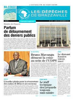 Les Dépêches de Brazzaville : Édition kinshasa du 24 novembre 2014