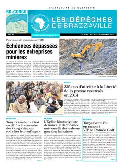 Les Dépêches de Brazzaville : Édition kinshasa du 25 novembre 2014
