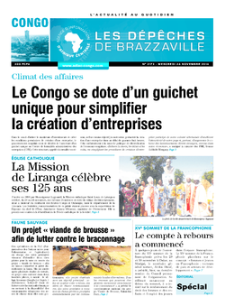 Les Dépêches de Brazzaville : Édition brazzaville du 26 novembre 2014