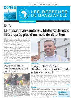 Les Dépêches de Brazzaville : Édition brazzaville du 27 novembre 2014