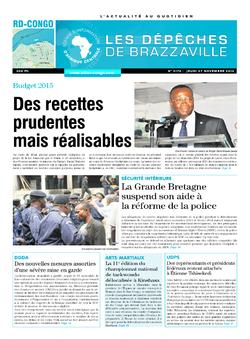 Les Dépêches de Brazzaville : Édition kinshasa du 27 novembre 2014