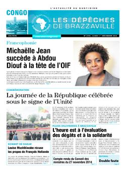 Les Dépêches de Brazzaville : Édition brazzaville du 01 décembre 2014