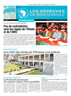 Les Dépêches de Brazzaville : Édition kinshasa du 09 janvier 2015