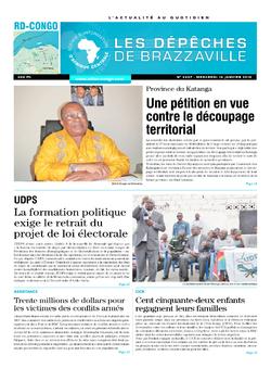 Les Dépêches de Brazzaville : Édition kinshasa du 14 janvier 2015