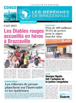 Les Dépêches de Brazzaville : Édition brazzaville du 03 février 2015