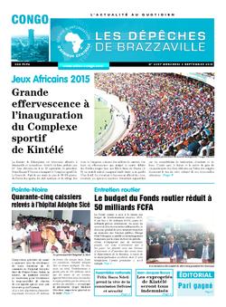 Les Dépêches de Brazzaville : Édition brazzaville du 02 septembre 2015