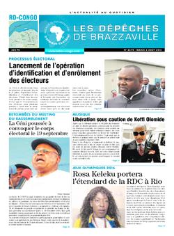 Les Dépêches de Brazzaville : Édition kinshasa du 02 août 2016