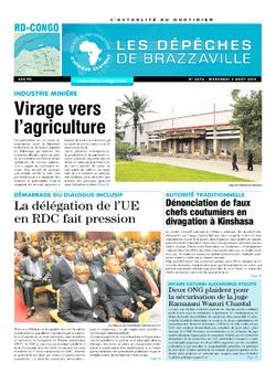 Les Dépêches de Brazzaville : Édition kinshasa du 03 août 2016