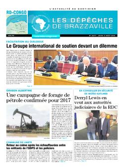 Les Dépêches de Brazzaville : Édition kinshasa du 04 août 2016