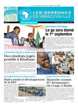 Les Dépêches de Brazzaville : Édition kinshasa du 30 août 2016