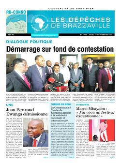 Les Dépêches de Brazzaville : Édition kinshasa du 01 septembre 2016