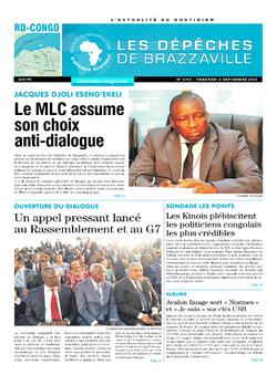 Les Dépêches de Brazzaville : Édition kinshasa du 02 septembre 2016