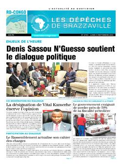 Les Dépêches de Brazzaville : Édition kinshasa du 05 septembre 2016