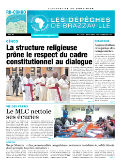Les Dépêches de Brazzaville : Édition kinshasa du 07 septembre 2016