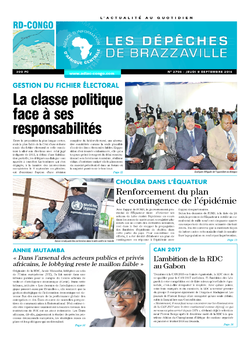 Les Dépêches de Brazzaville : Édition kinshasa du 08 septembre 2016