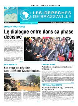 Les Dépêches de Brazzaville : Édition kinshasa du 12 septembre 2016