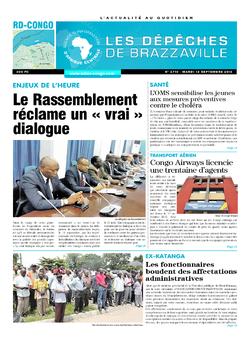 Les Dépêches de Brazzaville : Édition kinshasa du 13 septembre 2016