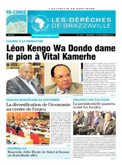 Les Dépêches de Brazzaville : Édition kinshasa du 16 septembre 2016