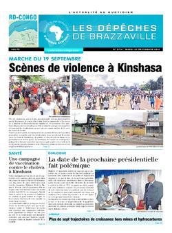 Les Dépêches de Brazzaville : Édition kinshasa du 20 septembre 2016
