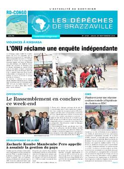 Les Dépêches de Brazzaville : Édition kinshasa du 29 septembre 2016