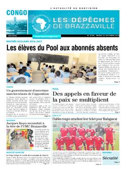 Les Dépêches de Brazzaville : Édition brazzaville du 04 octobre 2016