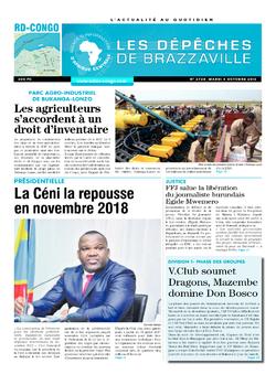 Les Dépêches de Brazzaville : Édition kinshasa du 04 octobre 2016