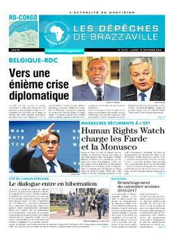 Les Dépêches de Brazzaville : Édition kinshasa du 10 octobre 2016