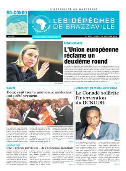 Les Dépêches de Brazzaville : Édition kinshasa du 18 octobre 2016
