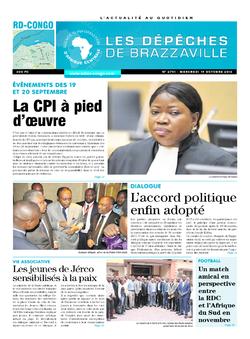 Les Dépêches de Brazzaville : Édition kinshasa du 19 octobre 2016