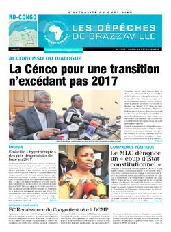 Les Dépêches de Brazzaville : Édition kinshasa du 24 octobre 2016