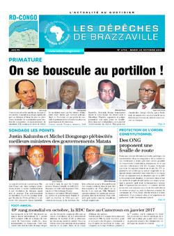 Les Dépêches de Brazzaville : Édition kinshasa du 25 octobre 2016