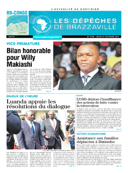 Les Dépêches de Brazzaville : Édition kinshasa du 27 octobre 2016