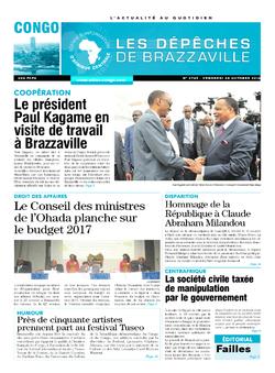 Les Dépêches de Brazzaville : Édition brazzaville du 28 octobre 2016