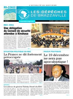 Les Dépêches de Brazzaville : Édition kinshasa du 31 octobre 2016