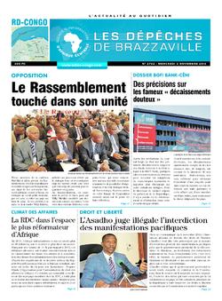 Les Dépêches de Brazzaville : Édition kinshasa du 03 novembre 2016