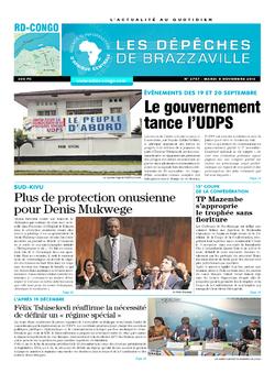 Les Dépêches de Brazzaville : Édition kinshasa du 08 novembre 2016