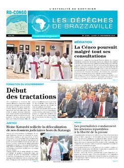 Les Dépêches de Brazzaville : Édition kinshasa du 21 novembre 2016