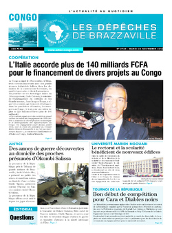 Les Dépêches de Brazzaville : Édition brazzaville du 22 novembre 2016