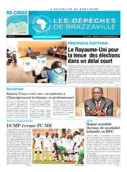 Les Dépêches de Brazzaville : Édition kinshasa du 22 novembre 2016