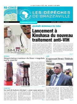 Les Dépêches de Brazzaville : Édition kinshasa du 01 décembre 2016
