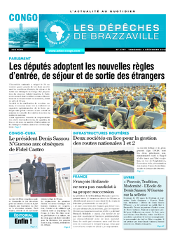 Les Dépêches de Brazzaville : Édition brazzaville du 02 décembre 2016