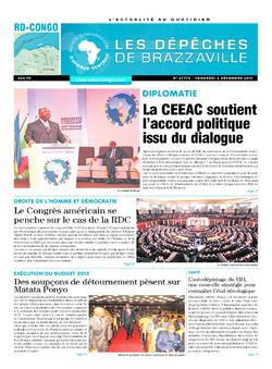 Les Dépêches de Brazzaville : Édition kinshasa du 02 décembre 2016