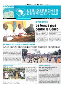 Les Dépêches de Brazzaville : Édition kinshasa du 13 décembre 2016