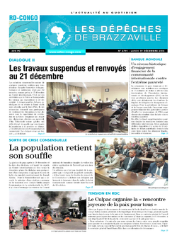 Les Dépêches de Brazzaville : Édition kinshasa du 19 décembre 2016