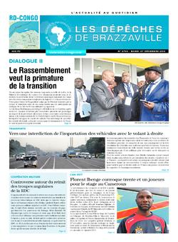 Les Dépêches de Brazzaville : Édition kinshasa du 27 décembre 2016