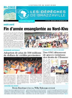Les Dépêches de Brazzaville : Édition kinshasa du 28 décembre 2016