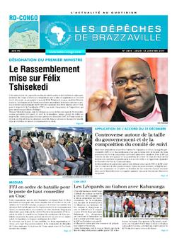 Les Dépêches de Brazzaville : Édition kinshasa du 12 janvier 2017